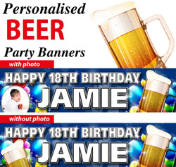 Personalised Beer Birthday Party Banners Decorations Supplies