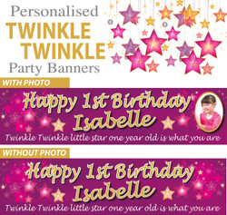 Personalised Twinkle Twinkle Party Banners Decorations Supplies