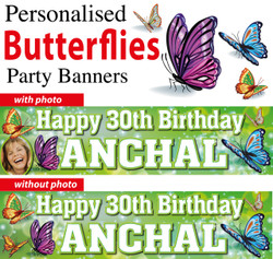 Personalised Butterflies Party Banners Decorations Supplies