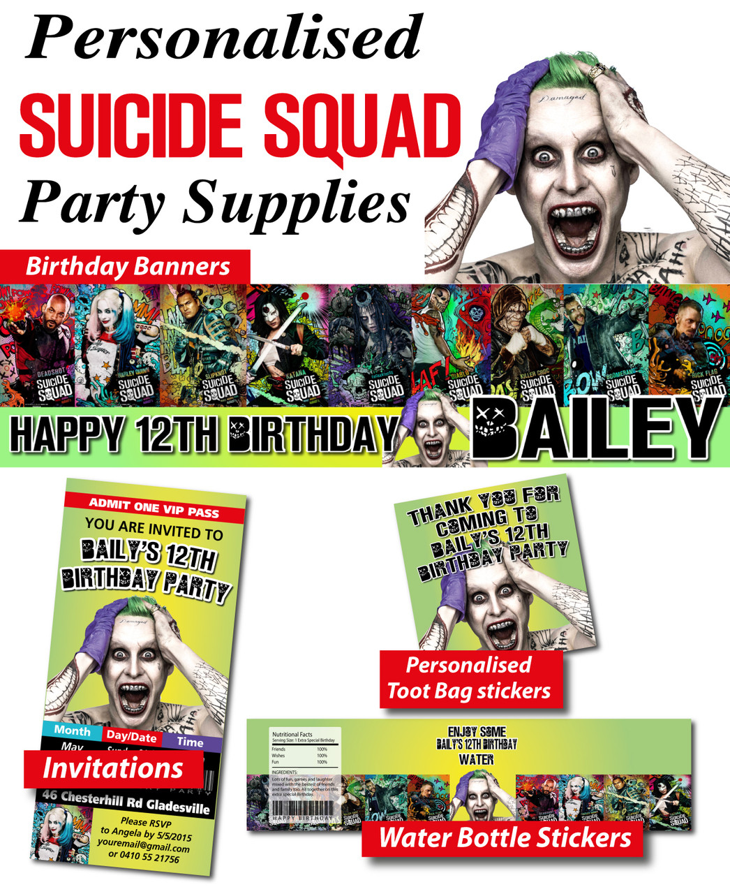 Personalised Suicide Squad Birthday Party Banner Decorations Loading Zoom