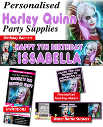 Personalised Harley Quinn Birthday Party Banner Decorations