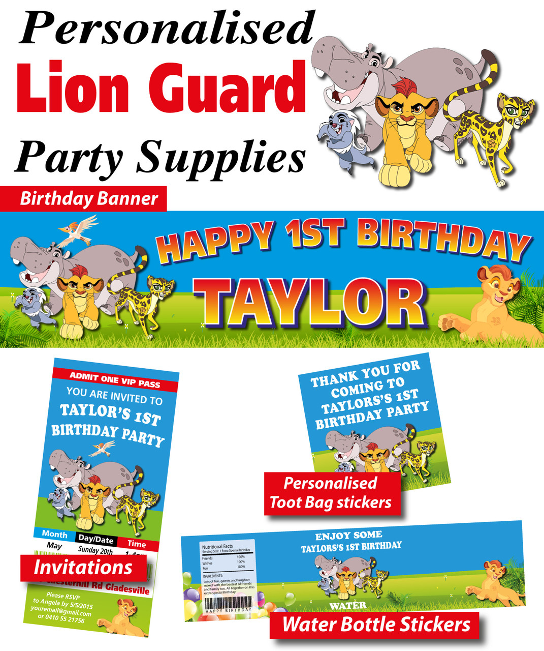 Personalised Lion Guard Birthday Party Banner Decorations