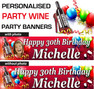 Personalised Wine Birthday Party Banner Decorations