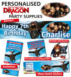 Personalised How to Train your Dragon Birthday Party Decorations