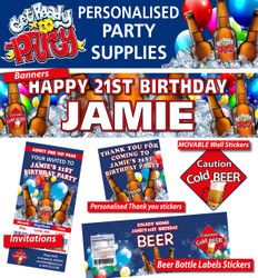 Personalised Beer Birthday Party Banner Decorations