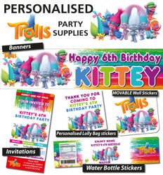 Personalised Trolls Birthday Party Banner and Decorations