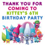 Personalised Trolls Birthday Party lolly Toot bag stickers