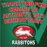 Personalised Rabbitohs Toot Lolly Bag stickers