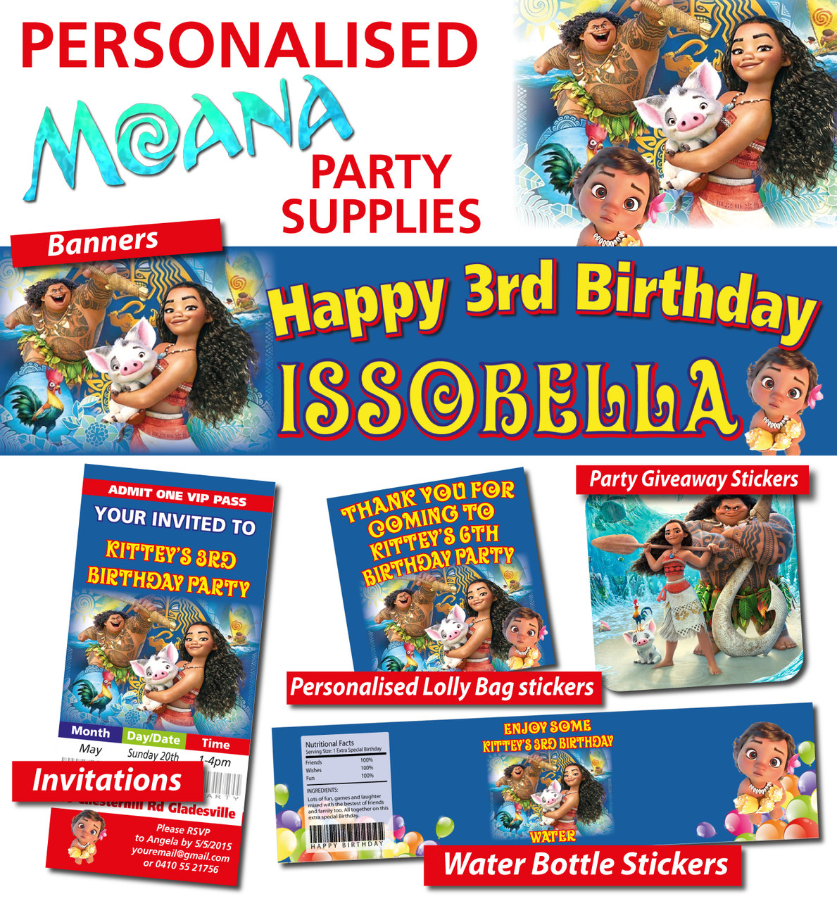 Personalised Moana Birthday Party Banner And Decorations Loading Zoom