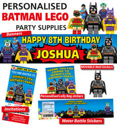 Personalised Batman Lego Birthday Party Banner and Decorations