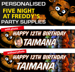 Personalised Five Nights at freddys Party Birthday Banners Decorations