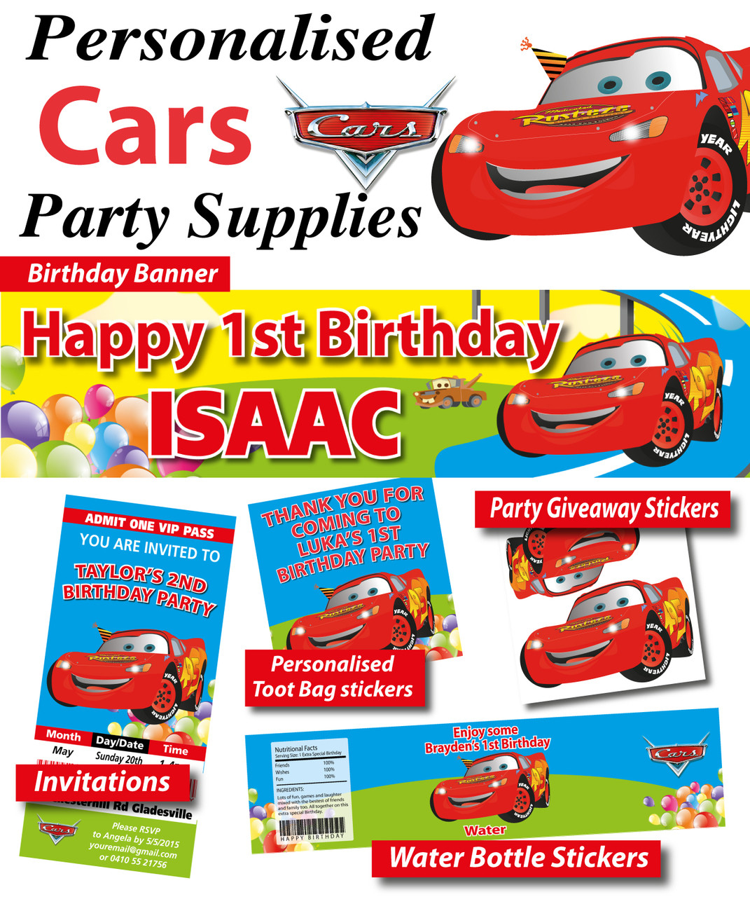 Cars Lightning McQueen Birthday Party Banner Loading Zoom
