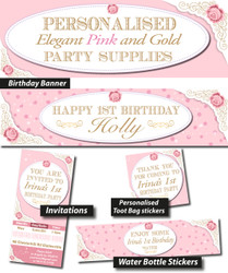 Personalised Elegant Pink and Gold Birthday Party Banner Decorations