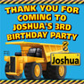 Personalised Construction Trucks Birthday Party lolly bag stickers