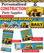 Personalised Construction Trucks Birthday Party Banner Decorations