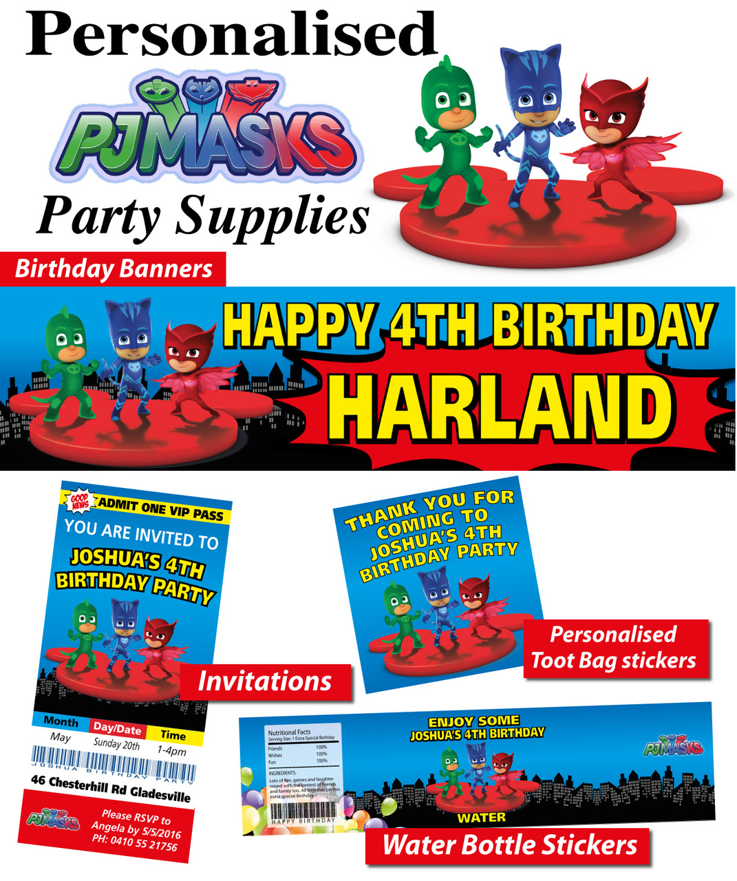 Personalised PJ Masks Birthday Party Banner Decorations Loading Zoom
