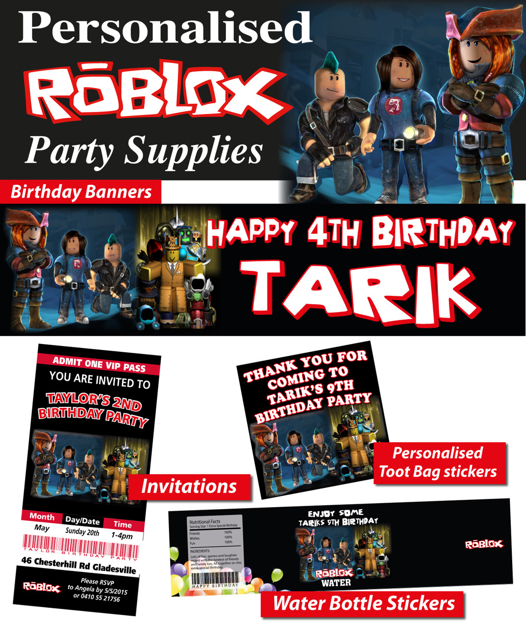 Personalised Roblox Birthday Party Banner Decorations Loading Zoom