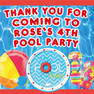 Personalised Pool Party Birthday Party lolly toot bag stickers