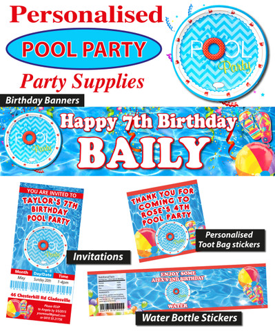 Personalised Pool Party Birthday Party Banners Decorations