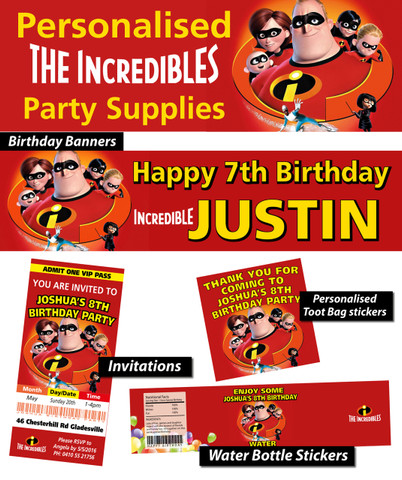 Personalised The Incredibles Birthday Party Banner Decorations