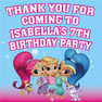Personalised Shimmer and Shine Birthday Party Lolly toot bag stickers