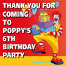 McDonalds Birthday Party Toot Thank you Stickers