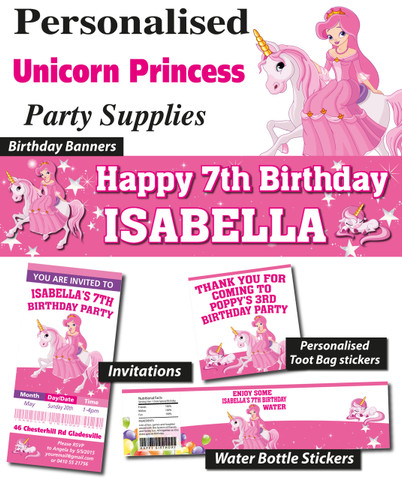 Unicorn Princess Birthday Party Banner Decorations supplies