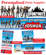 Personalised Fortnite Birthday Party Banner Decorations supplies
