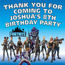 Personalised Fortnite Birthday Party Lolly toot bag stickers