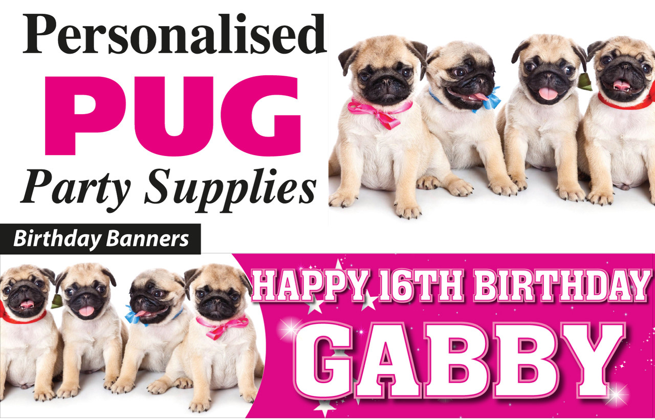 Pug Birthday Party Banners Decorations Supplies