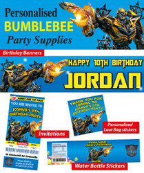 Personalised Transformers Bumblebee Birthday Party Banner Decorations supplies