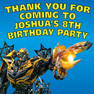 Personalised Transformers Bumblebee Birthday Party Lolly Loot bag stickers.