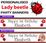 Personalised Lady Beetle Party Birthday Banners Decoration