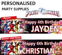 Personalised Power Rangers Party Birthday Banners Decoration