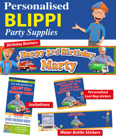 Personalised Blippy  Birthday Party Banner Decorations