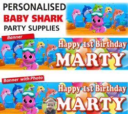 Personalised Baby Shark Party Birthday Banners Decoration
