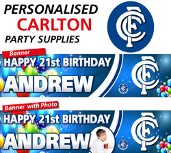 Personalised Carlton Birthday Party Banner and Decorations