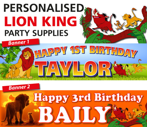 Personalised lion King Party Birthday Banners Decoration