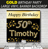 Personalised Gold Theme Birthday Party Banner Backdrop Background
