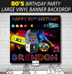 Personalised 80s Theme Birthday Party Banner Backdrop Background