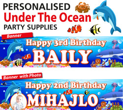 Personalised Under the Ocean Sea Birthday Party Banner Decoration