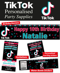 Personalised TikTok Birthday Party Banner Decorations