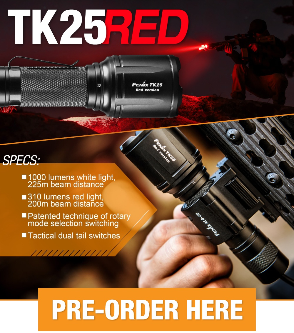 Fenix TK25 Red LED Hunting Flashlight
