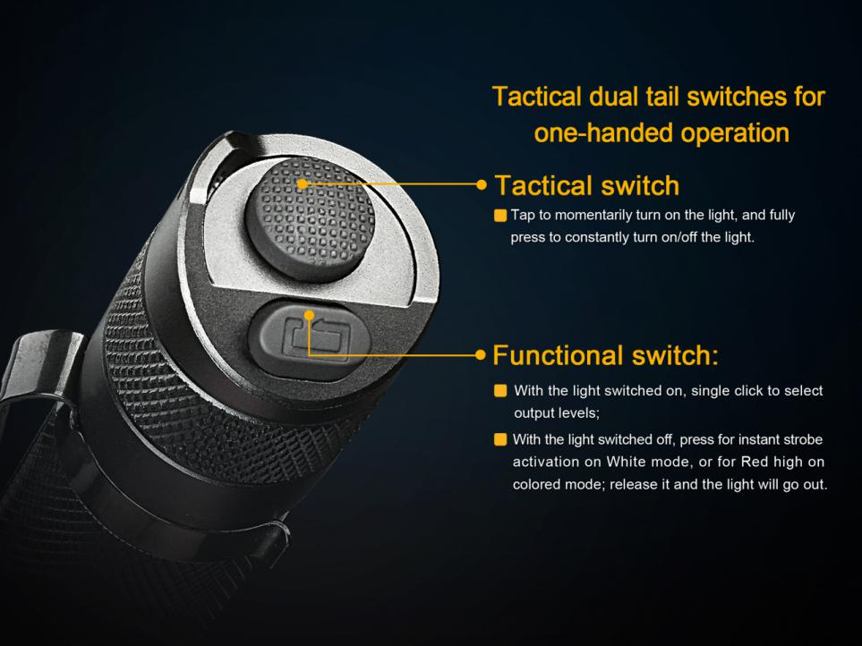 Fenix TK25RB Multi-Color Tactical LED Flashlight Tail Switch