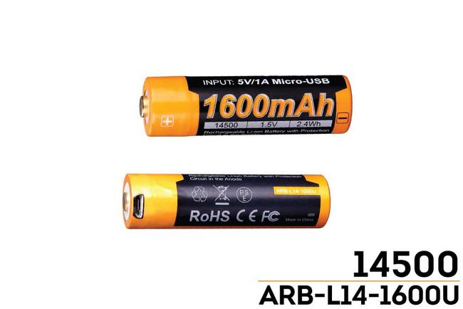 Fenix Arb L14 1600u Usb Rechargeable Li Ion 14500 Battery