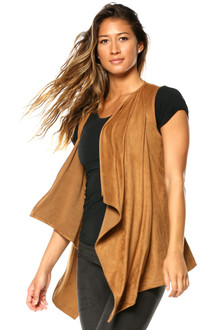 Stretch Suede Wrap Vest
