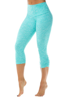 Butter High Waist Band Side Gather 3/4 Leggings