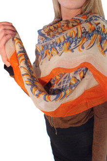 Orange Shawl Scarf - FINAL SALE