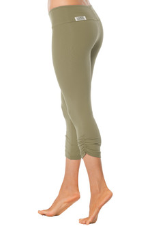 Khaki Sport Band Side Gather 3/4 Leggings - FINAL SALE - XS (1 AVAILABLE)