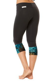 Sport Band Modella Cuff 3/4 Leggings - TIGER TURQ ON BLACK - FINAL SALE - SMALL (1 AVAILABLE)